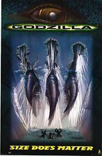 MOVIE POSTER~Godzilla 1998 Size Does Matter Claw Through Dam Original Sheet~New1