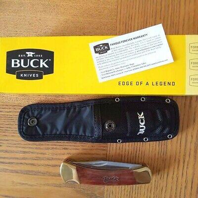 Buck knives 110//112 Combo Folding Hunter Brown Bone Handles w// Nylon sheath