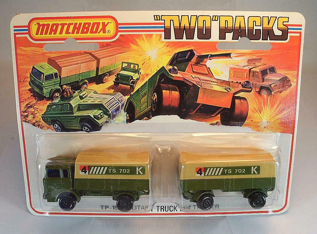 Matchbox Superfast  Two  packs tp-15 military truck and tráiler ts 702 OVP