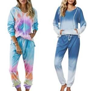 Para Mujeres Set Tie Dye Gradiente Chandal Con Capucha Sudadera Pantalones Loungewear Outfit Ebay