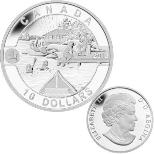 TAX Exempt 2013 O Canada Series $10 Fine Silver  Coin Summer Fun
