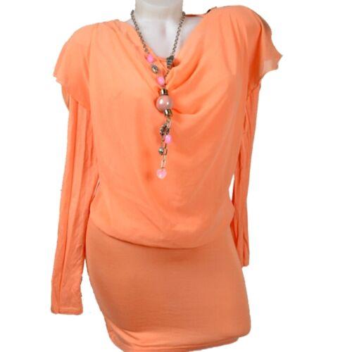 Magnifiques Mousseline Tunique Robe Shirt 36 38 40 42 S M L Pull Cascade Fête