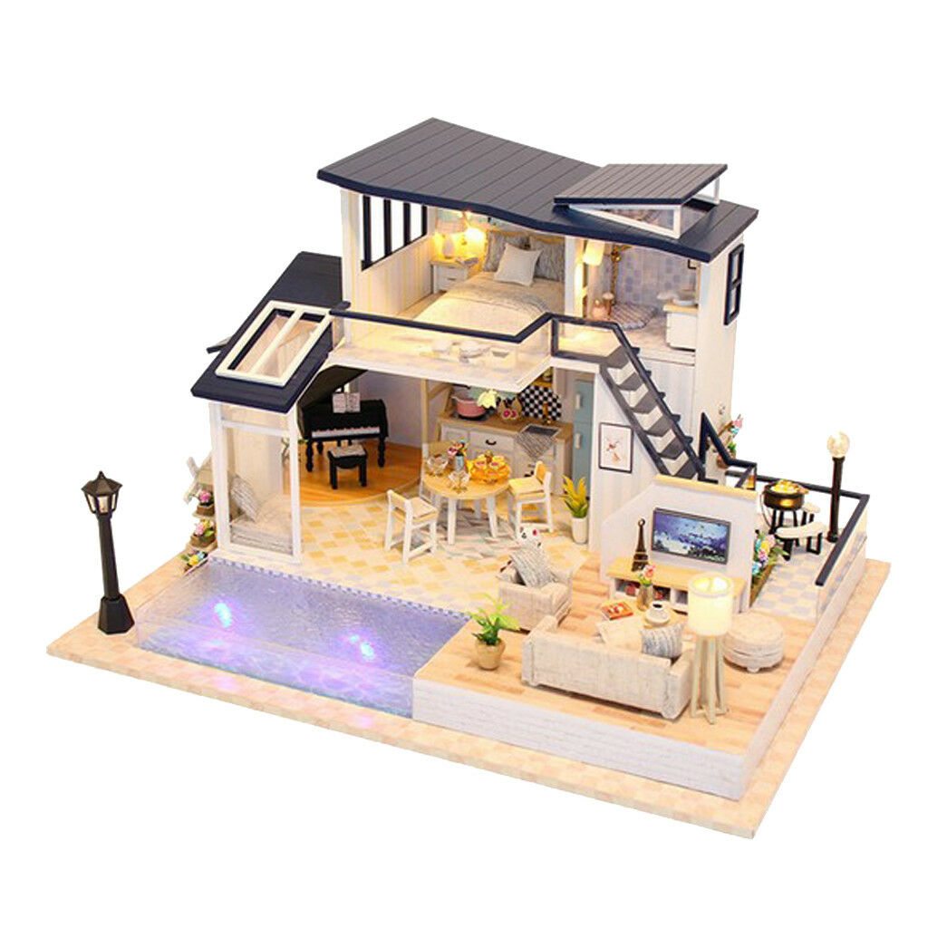 1 24 Dollhaus DIY Mermaid Tribe haus with Möbel Assemble Miniature LED