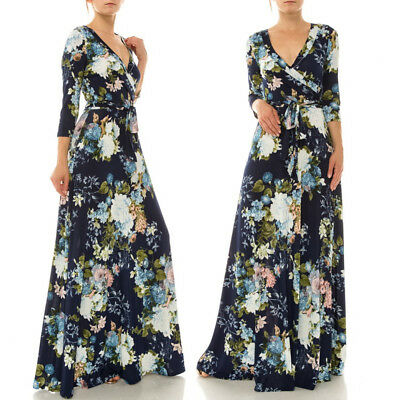 S JANETTE Midnight Blue FLORAL Stretch Faux Wrap Long MAXI DRESS Travel Boho Vtg