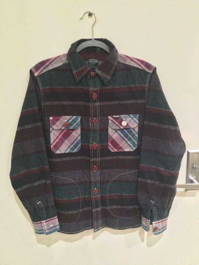 Manastash Multi Patch Cut + Sew L S Flannel Shirt, men's size small