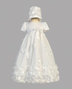 New Baby Girls White Satin Tulle Dress Gown Christening Baptism