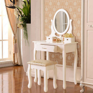 3-Drawers-White-Dressing-Table-Oval-Mirror-Makeup-Desk-with-Stool
