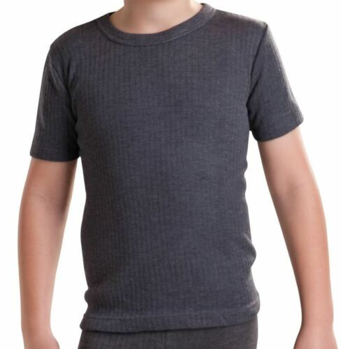 Boys Short Sleeve Thermal T-shirt Warm Base Layer White Charcoal Ages 2-5