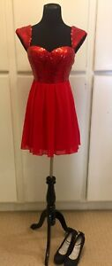 63fbb483 Image is loading Women-WINDSOR-Homecoming-Prom-Formal-Red-Sequin-Cocktail-