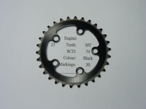 NOS Sugino Chain ring sprocket 30T BCD 74mm black color cr23 us