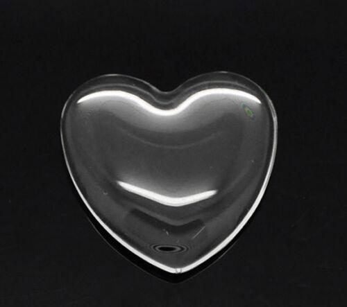 2 pièces Cabachons 25x25mm cœur cabachon Verre Bijoux Bricolage klebstein clair À faire soi-même