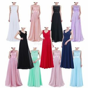 Women-Ladies-Lace-Chiffon-Tulle-Long-Gown-Bridesmaid-Dress-Evening-Prom-Cocktail