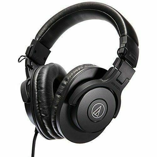 Audio-Technica ATH-M30x Professional Studio Monitor Headphones Black Mic Bundle with Blucoil Aluminum Dual Suspension Headphone Hanger and Y Splitter for Audio USB Audio Adapter