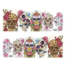 Full Wrap Nail Art Water Transfers Stickers Halloween Skulls Flowers (DS452)