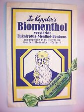 Schaufenster Papiertüte Attrappe Dr. Keppler`s Biomenthol Bonbons um 1940 !