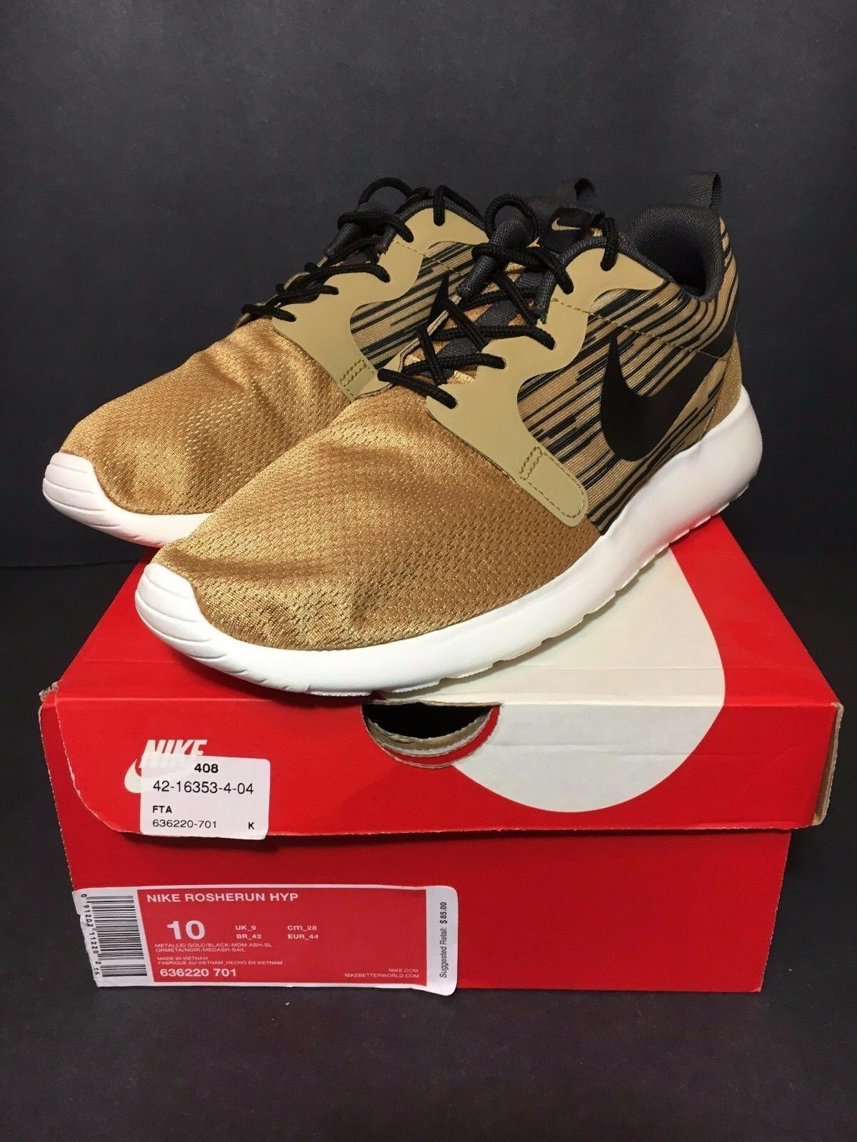 DS NEW NIKE ROSHE courir GOLD HYPERFUSE GPX Taille 10 TEAM IGUANA YEEZY MINT ONE 9.5