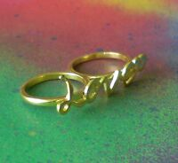 Gold Plated 2 Finger love Brass Knuckle Ring Statement Fashion Ring Size 8