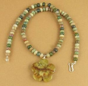 Jasper-and-silver-necklace-Flower-pendant-Green-Sterling-silver-925-Handmade