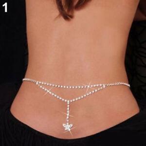 New-Women-Lady-Sexy-Silver-Waist-Back-Chain-Rhinestone-Belly-Lower-Body-Jewelry