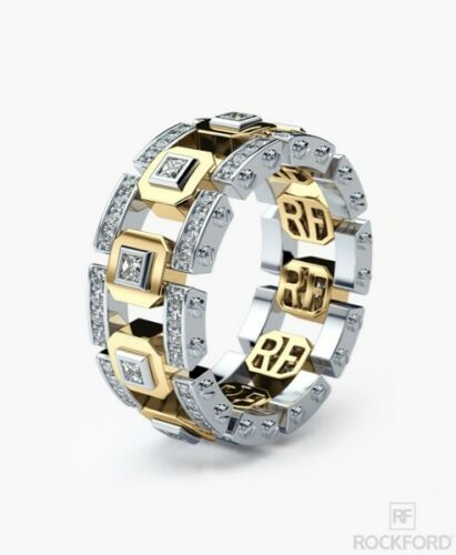 Personality Men/'s Modern 14K White Gold Two Tone Cz Wedding Band Ring Jewelry