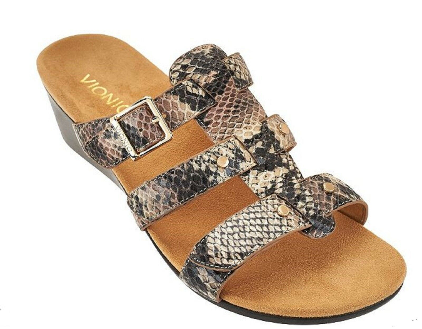 Vionic Orthaheel PARK RADIA Adjustable Strap Wedge Slides Slides Wedge NATURAL SNAKE 8 W NIB 0ec067