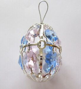 Ornament-EGG-Austrian-Crystals-silver-plated-blue-amp-pink-crystals
