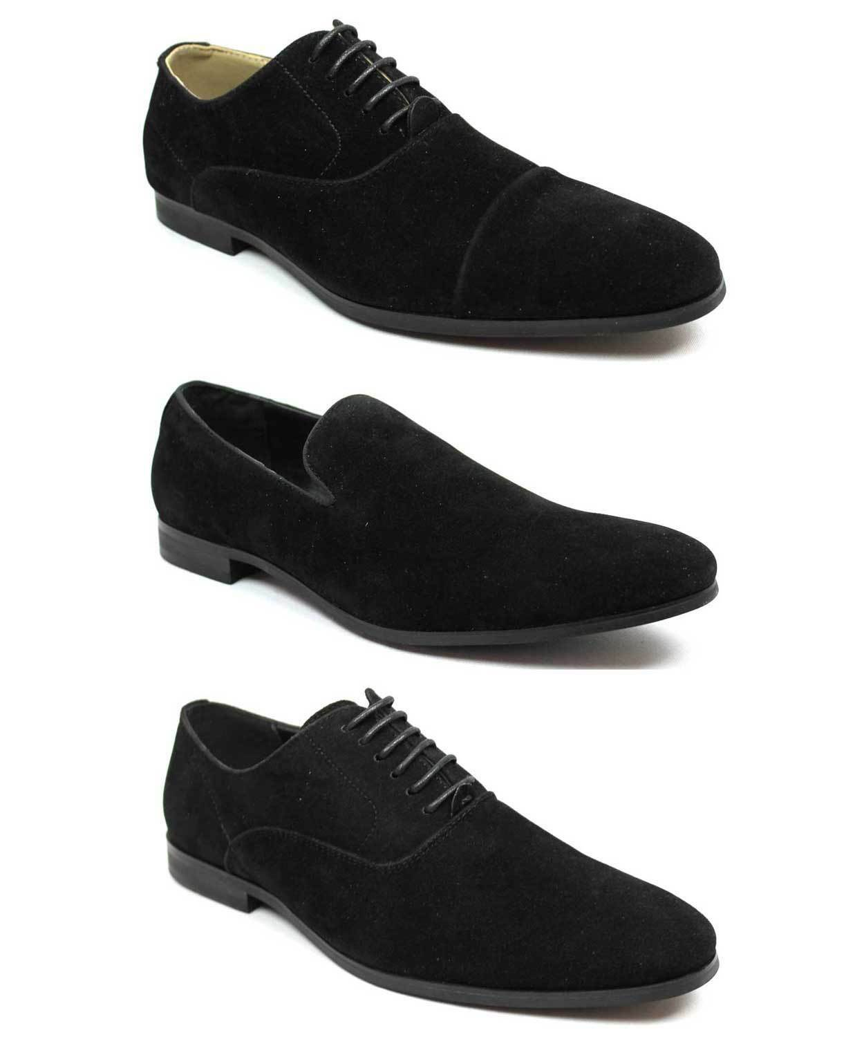New Mens Black Suede Dress Shoes Lace Up Oxfords & Slip On Option Formal By AZAR