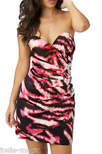 Lipsy UK 16 Asymmetric Jewelled Corset Mini Dress in Black/Pink Power Print New