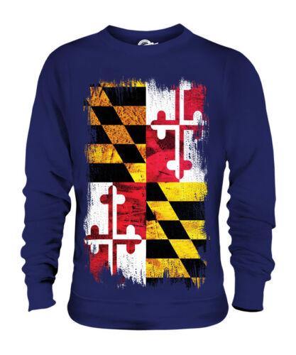 Maryland Unisex Jersey Stato Grunge Bandiera Regalo Del Maglietta Maglione gwxnqZnfP5