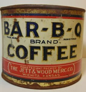 Old-Vintage-1930s-BAR-B-Q-COFFEE-TIN-ONE-POUND-GRAPHIC-JETT-WOOD-WICHITA-KANSAS