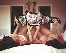 The Bella Twins Nikki Brie 8x10 Photo WWE Total Divas w/ Championship Title Belt