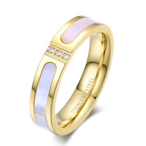 TT 14K Gold GP 5mm S.Steel Mother Pearl Wedding Band Ring With CZ ...