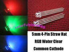 100pcs, 5mm Straw Hat 4-Pin Tri-Color RGB Common Cathode Water Clear LED Leds