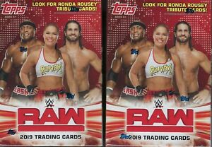 2-2019-Topps-WWE-RAW-New-Wrestling-Trading-Cards-71c-Retail-BLASTER-Box-LOT