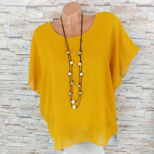 Made in Italy Gaze Tunique Soirée Shirt Blouses shirt ailes manches curry-jaune 36-44