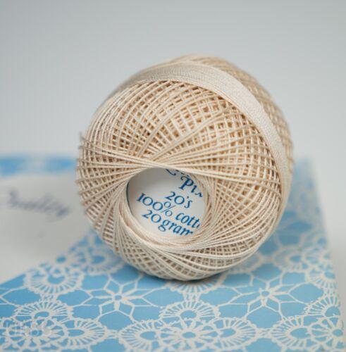 Lesur Pixie 20s crudo Ganchillo Hilo 100/% algodón 20g Lote X 10 bolas Caja Vintage