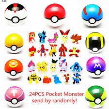 24 x Pokemon Go Action Figures with 9x Poke ball Pikachu Pop-up lot kid toys New