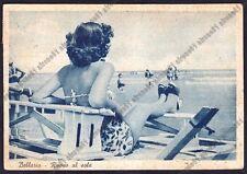 RIMINI BELLARIA IGEA MARINA 69 DONNA in COSTUME DA BAGNO Cartolina viagg. 1951