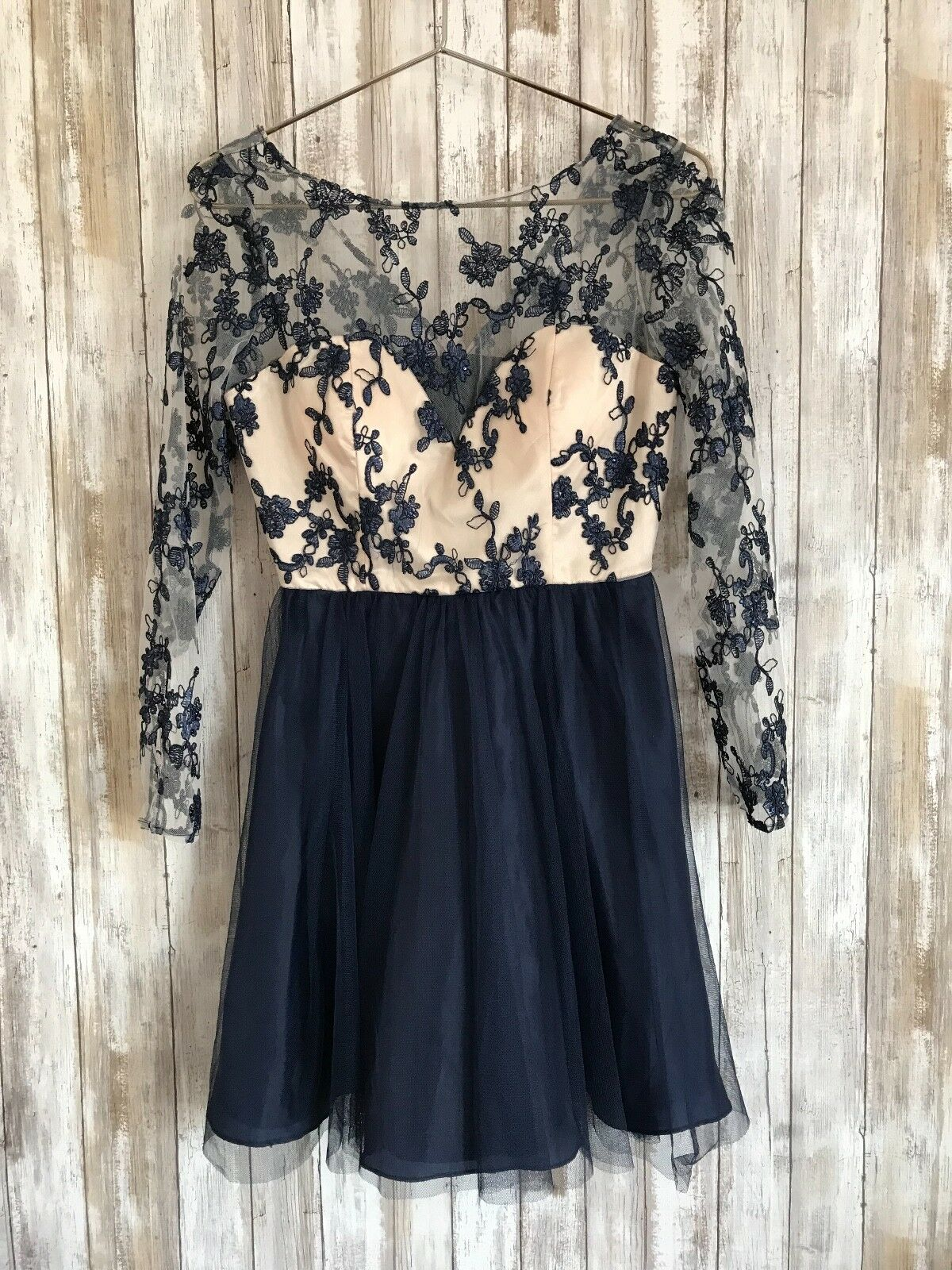 a7c86c4980 Nordstrom Dear Moon Navy bluee Sheer Lace Floral Junior 7 Prom Dress  STUNNING