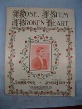 A Rose A Stem A Broken Heart Antique Large Sheet Music 1911 Seymour Furth (O)