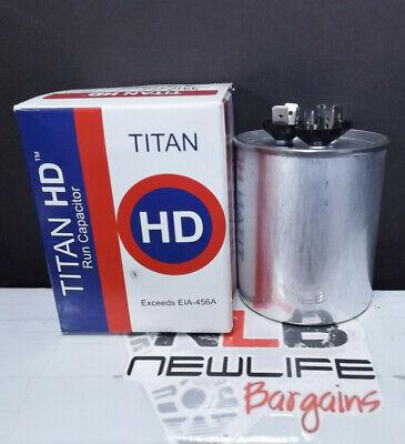 Titan HD Motor Run Capacitor PRCFD605A 440//370 VAC 60+5 MFD Round