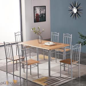 Tavolo Da Pranzo Con 6 Sedie Set Mobili In Legno Acciaio Cucina Casa Cm 140x80 Ebay