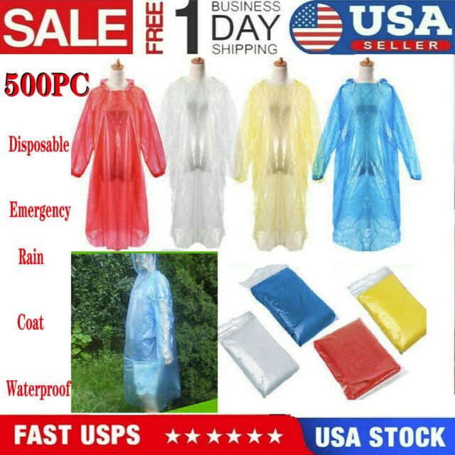 Disposable Adult Emergency Waterproof Rain Coat Poncho Hiking Camping Fishing