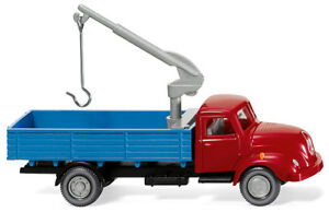 WIKING-042002-Flatbed-Truck-With-Crane-Magirus-S-3500-Red-Blue-1-87-H0