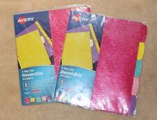 2 Sets Avery 24928 5 Big Tab Reversible Dividers Glitter Pattern School Supplies