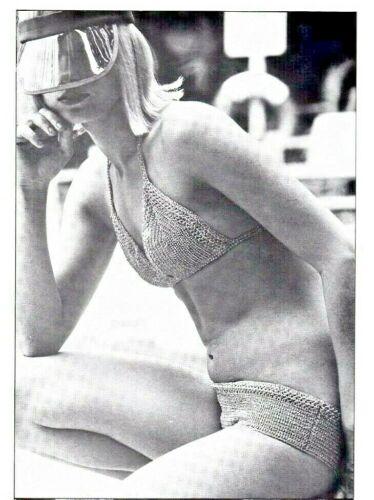 Bikini Crochet Pattern 3 Designs Ladies Vintage Retro Reproduced Black /& White