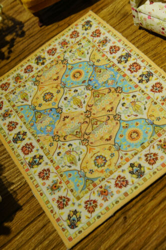 1:12 Beautiful Miniature Persian Design Dollhouse Yellow Blue Rug