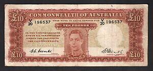 Australia-R-60-1949-10-Pounds-Coombs-Watt-George-VI-Portrait-Fine