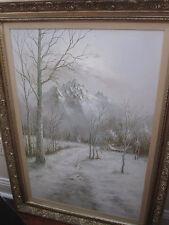 HYUN BO YOO 1946-2011 OIL PAINTING KOREAN ART WINTER MOUNTAIN SCENE FRAMED