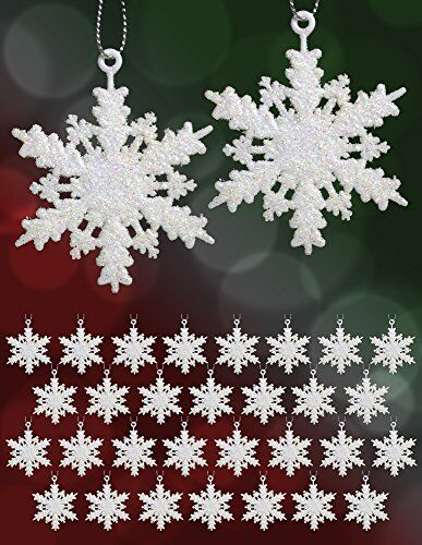 Set Of 32 Mini Snowflake Christmas Ornaments Winter Wedding Favor